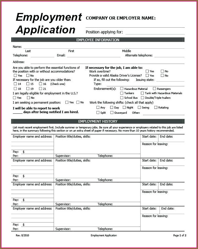 Printable Job Application Template Google Docs