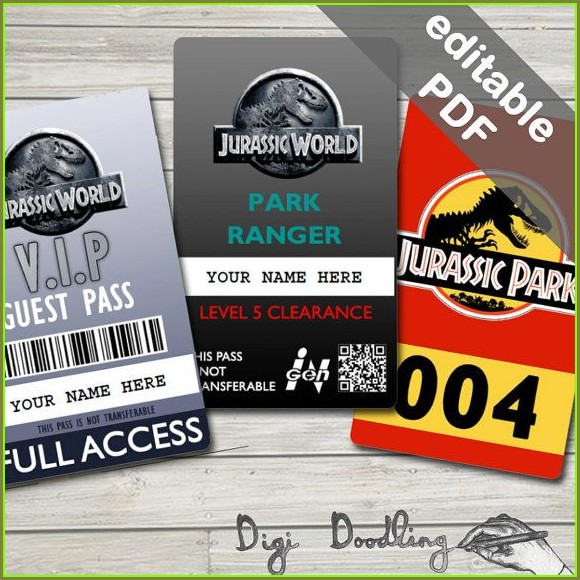 Printable Jurassic Park Id Badge Template Free