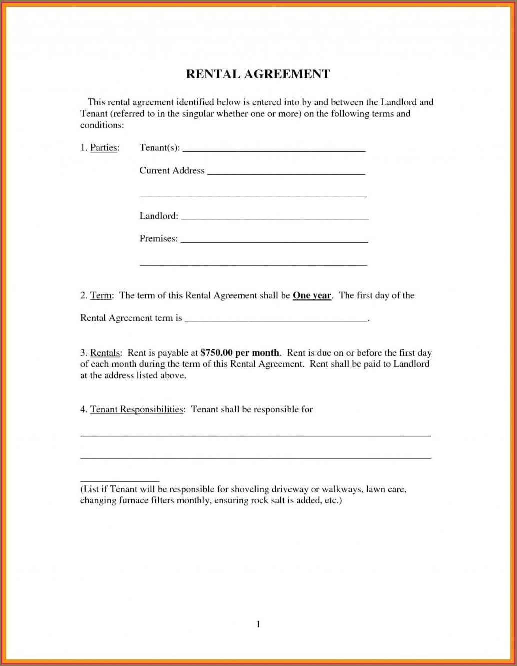 Printable Landlord Tenancy Agreement Template