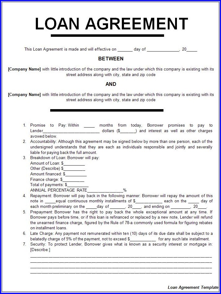 Printable Loan Agreement Template Pdf