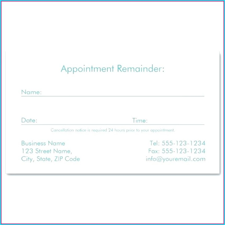 Printable Medical Appointment Card Template Free
