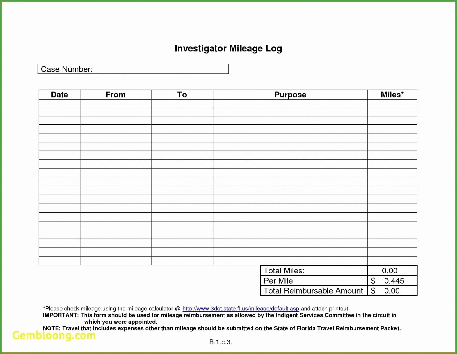 Printable Mileage Reimbursement Form Template