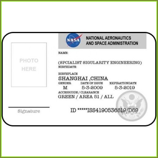 Printable Nasa Id Badge Template