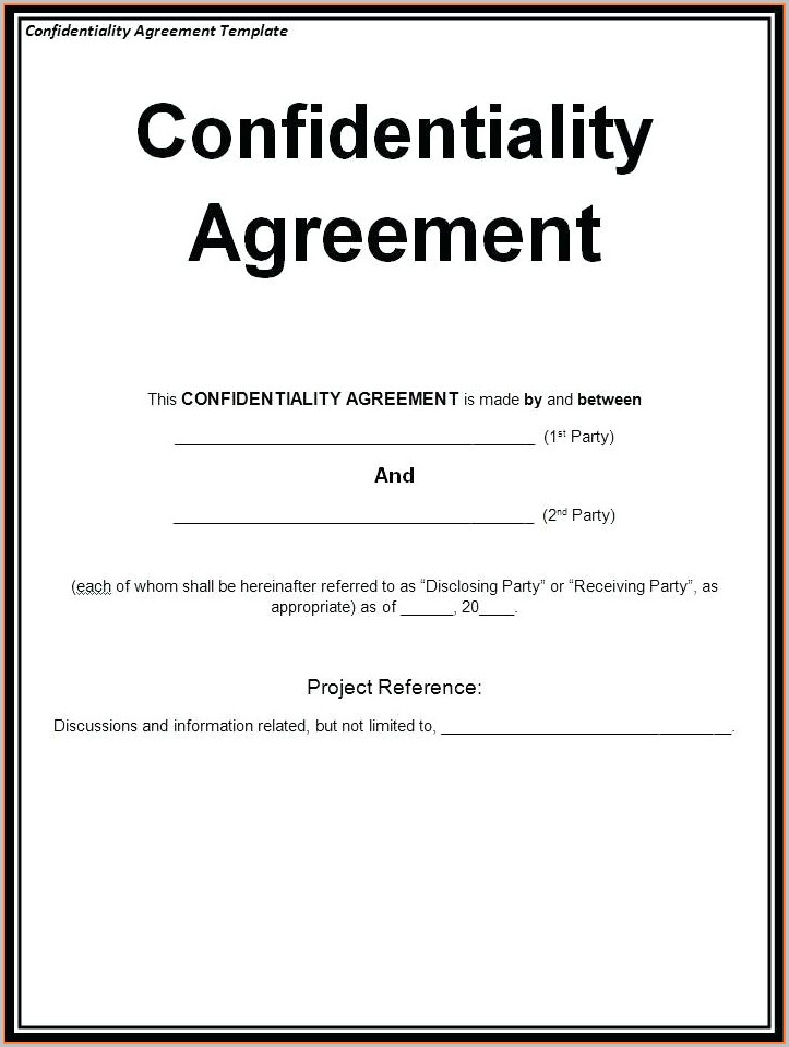 Printable Non Disclosure Agreement Template Word