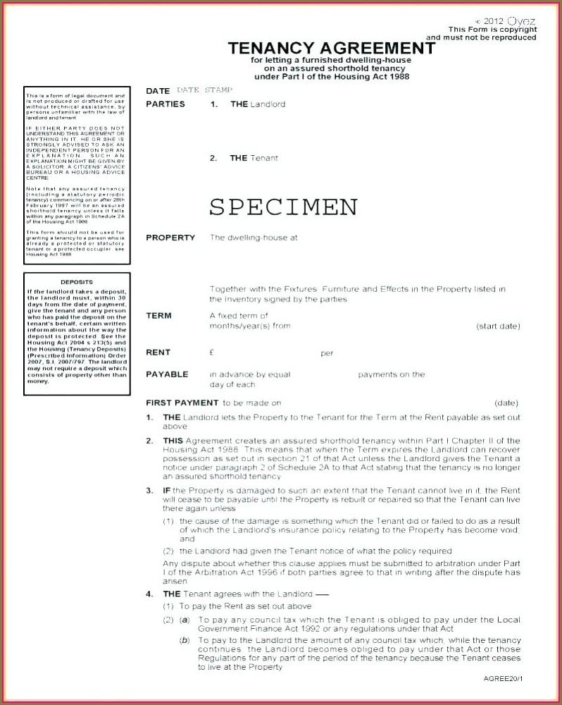 Printable Private Landlord Tenancy Agreement Template