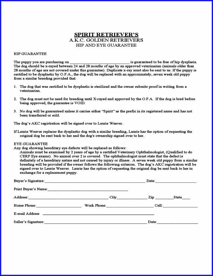 Printable Puppy Sales Contract Template Free