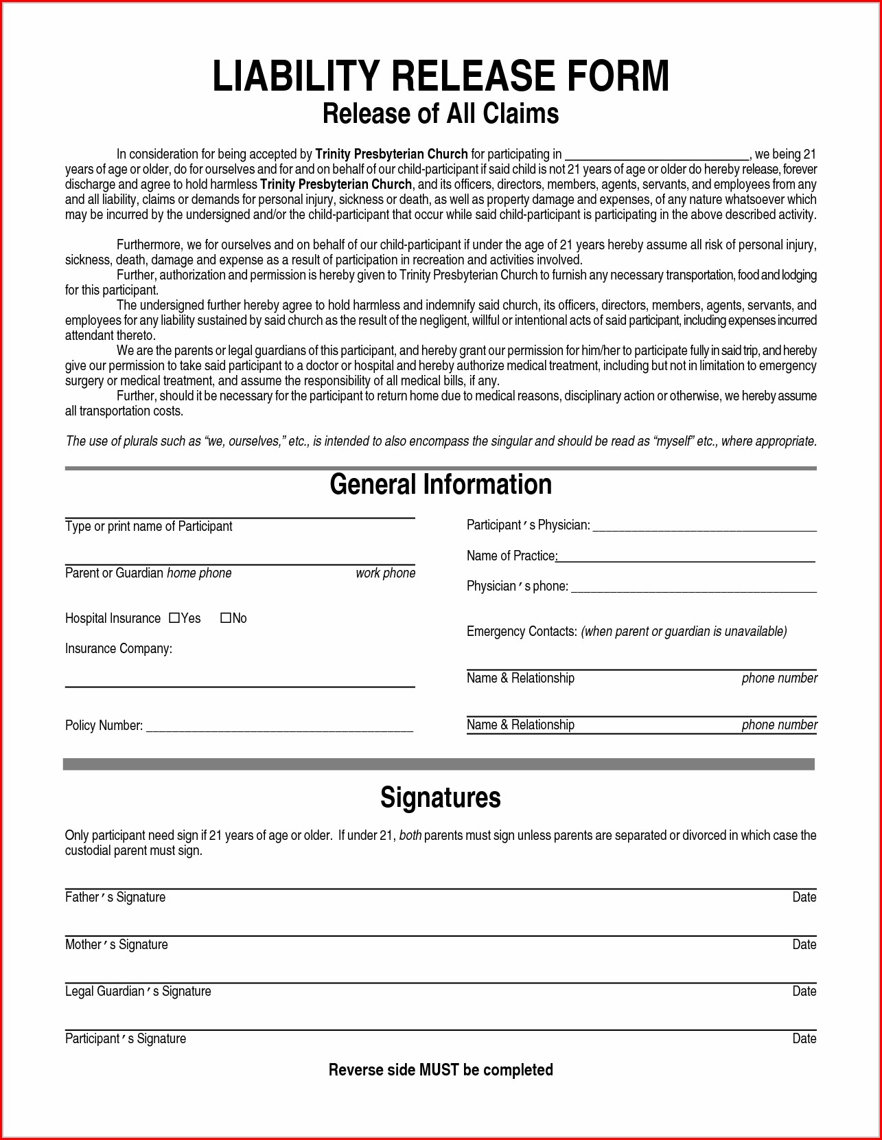 Printable Release Of Liability Waiver Template