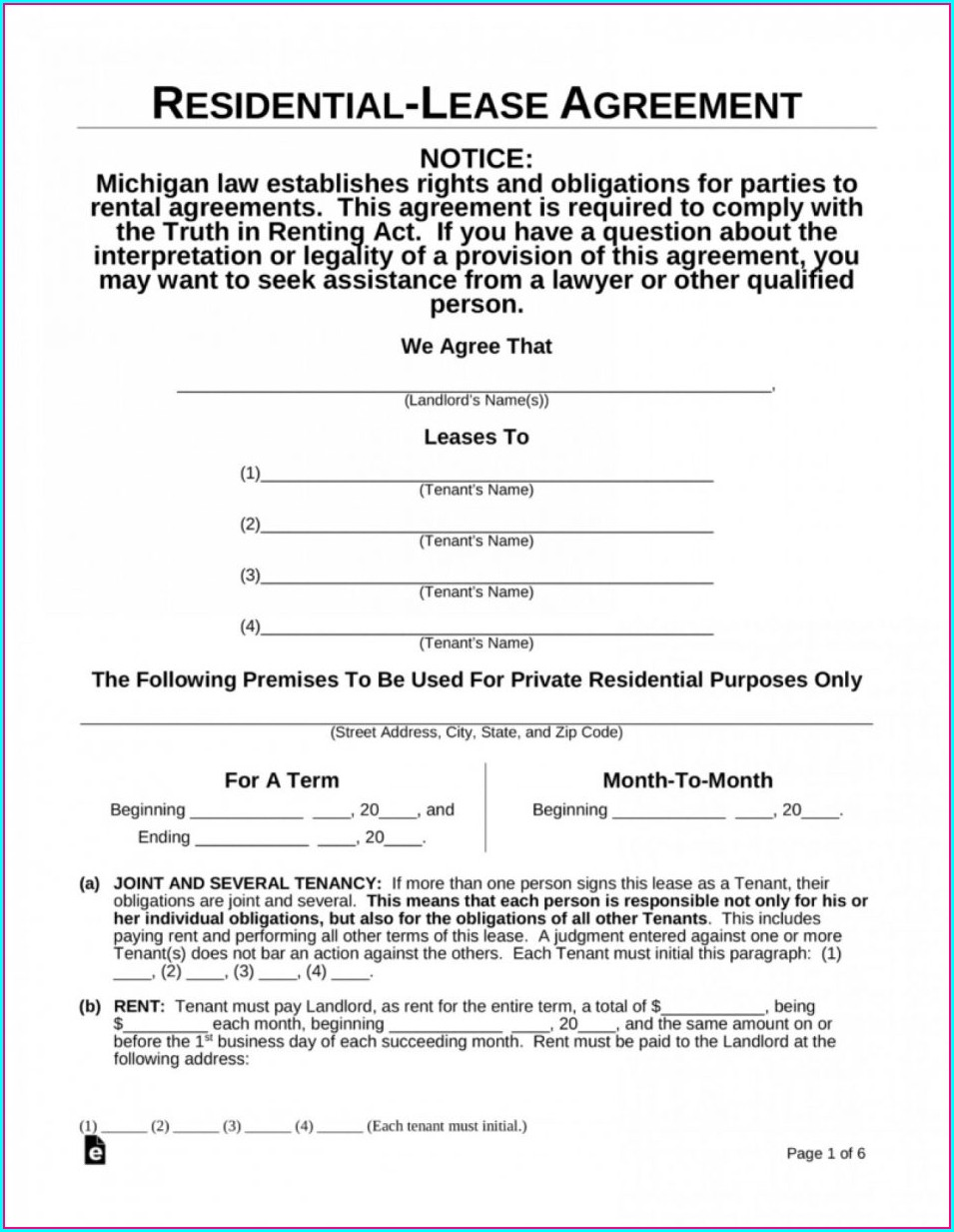 Printable Rental Agreement Template Free