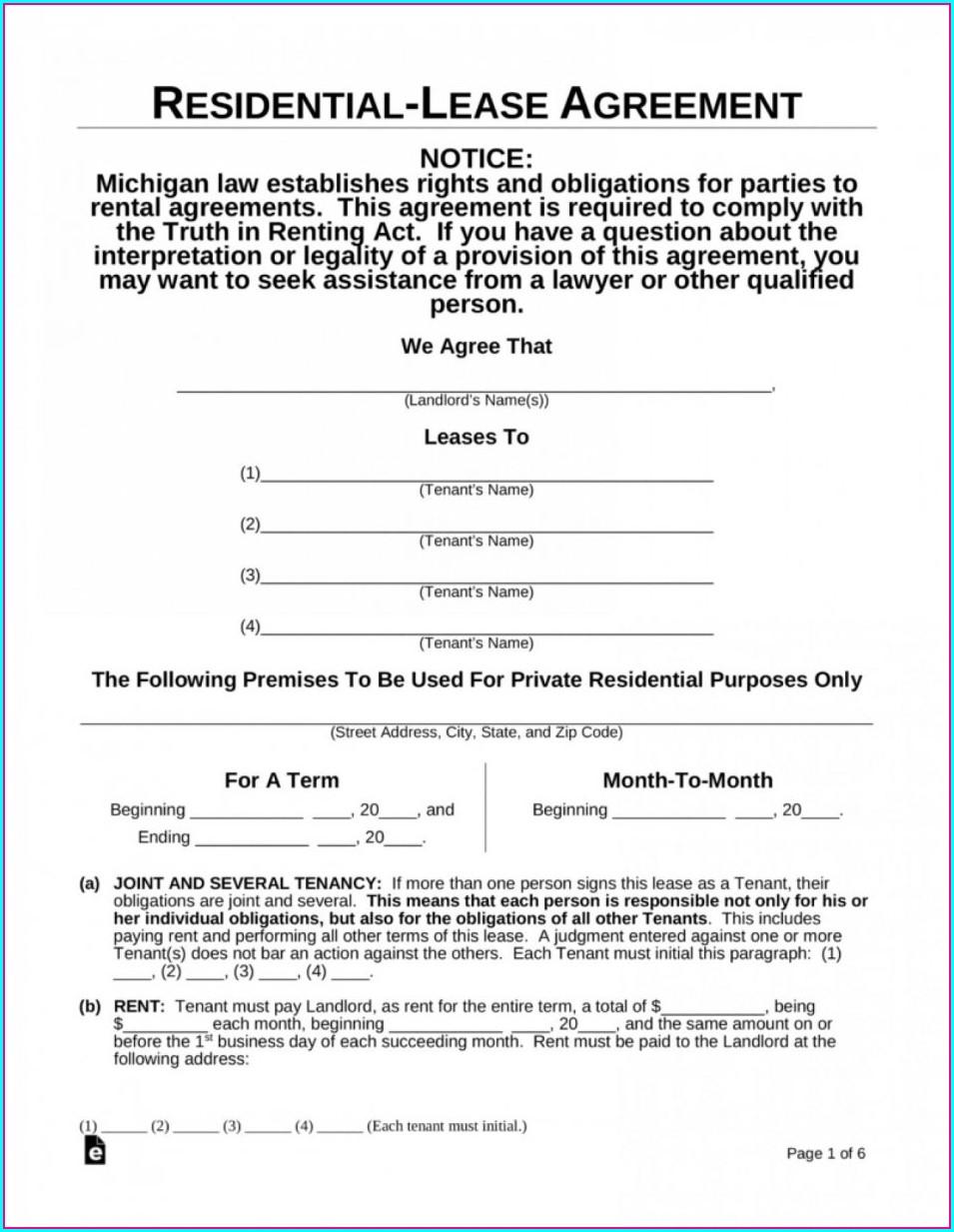 Printable Rental Agreement Template Free