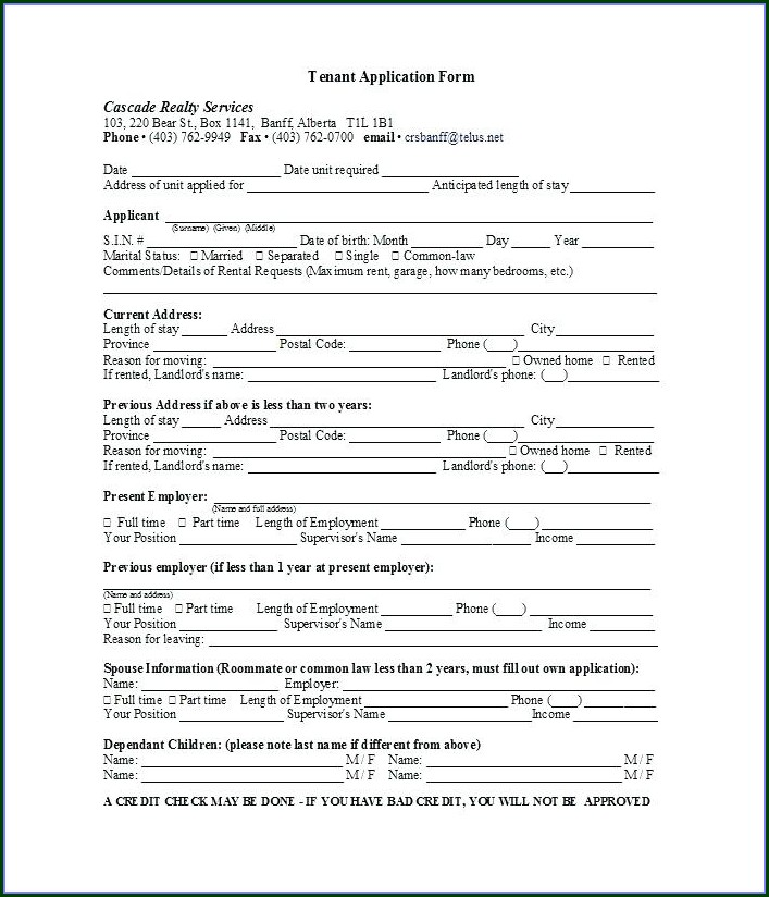 Printable Renters Application Template