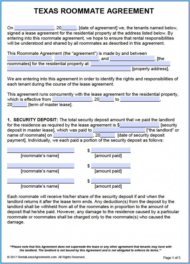 Printable Roommate Agreement Template Free