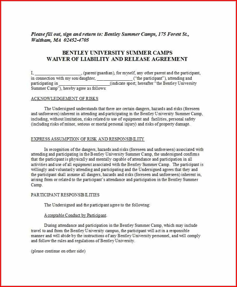 Printable Safety Waiver Release Of Liability Waiver Template