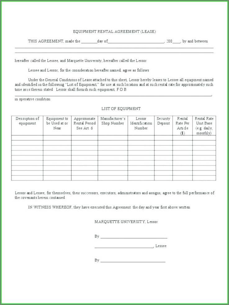Printable Simple Equipment Rental Agreement Template Free