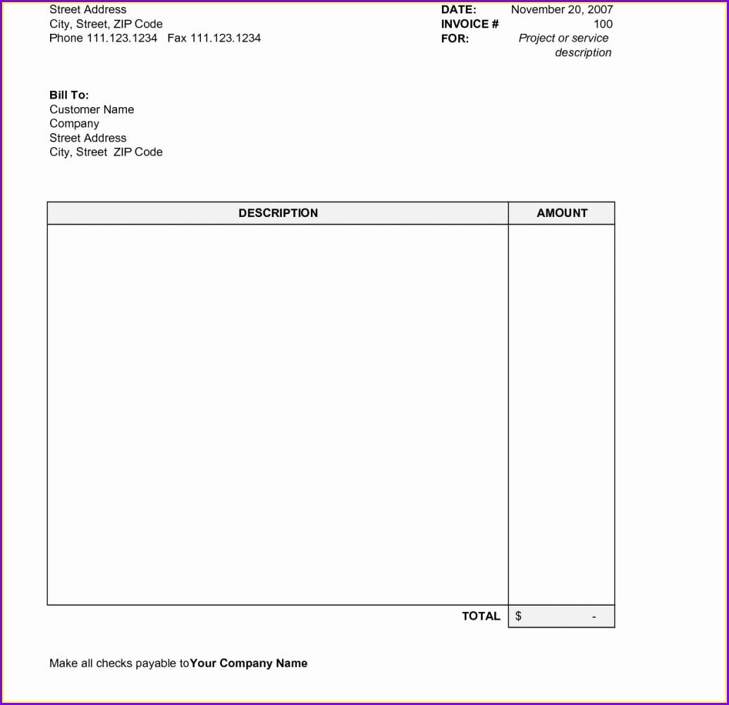 Printable Simple Invoice Template Free