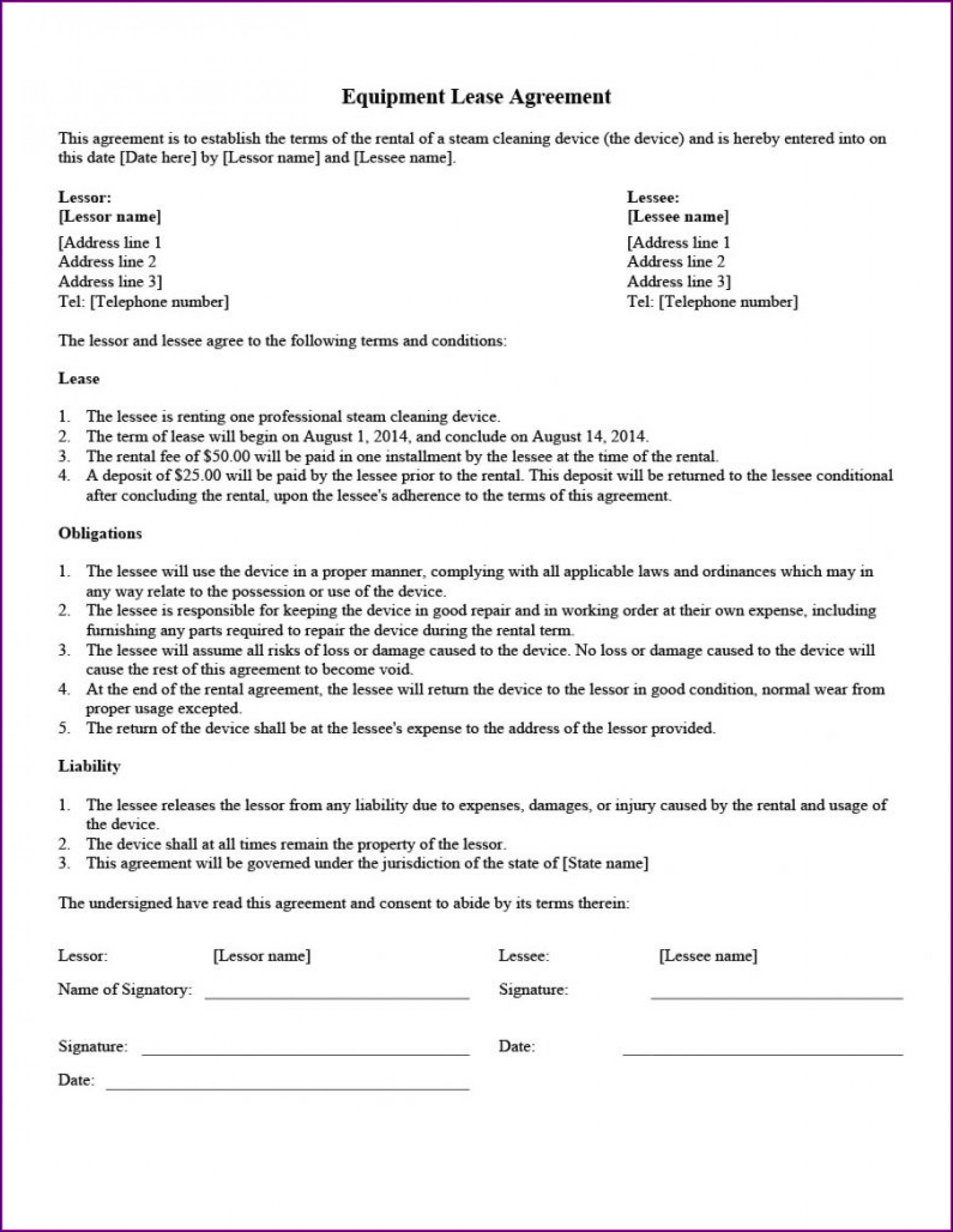 Printable Simple Lease Agreement Template