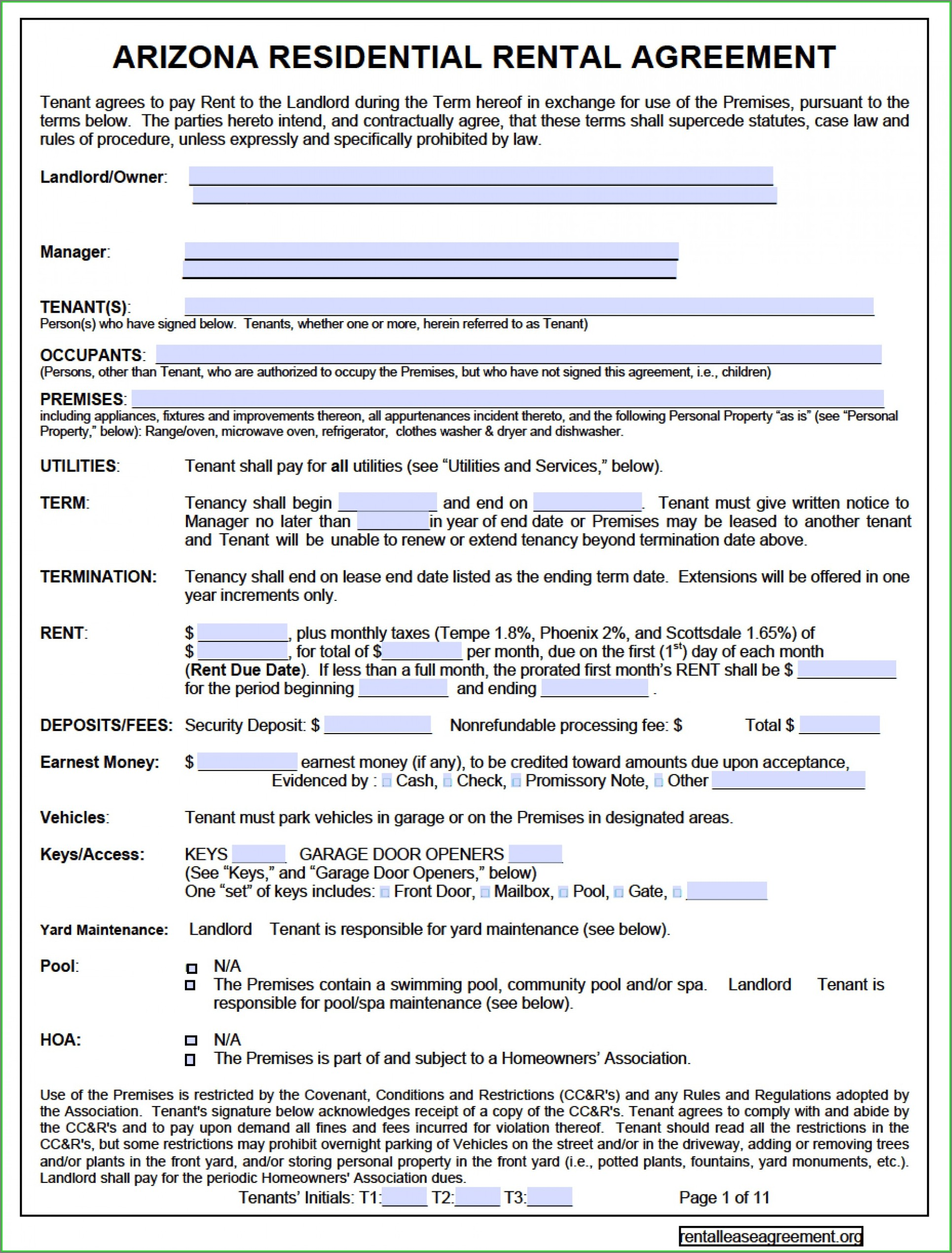 Printable Standard Lease Agreement Template