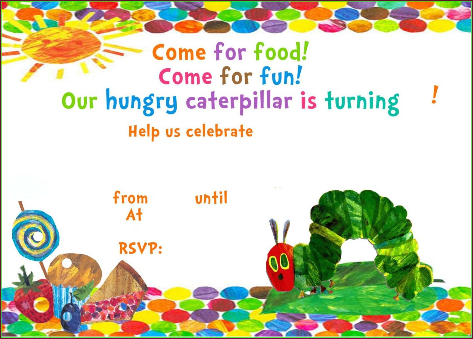 Printable Very Hungry Caterpillar Invitation Template