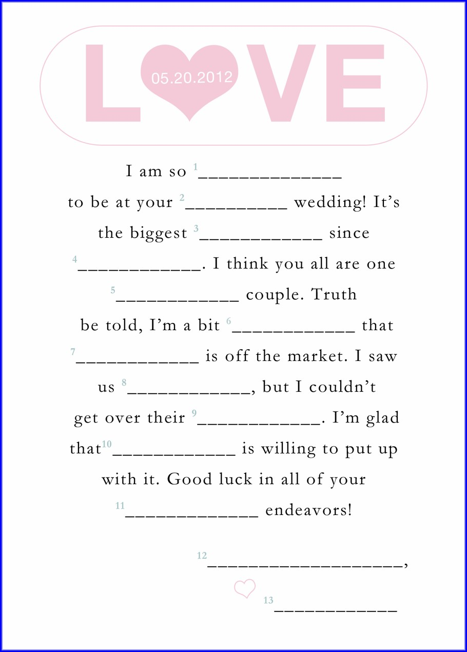 Printable Wedding Mad Libs Template