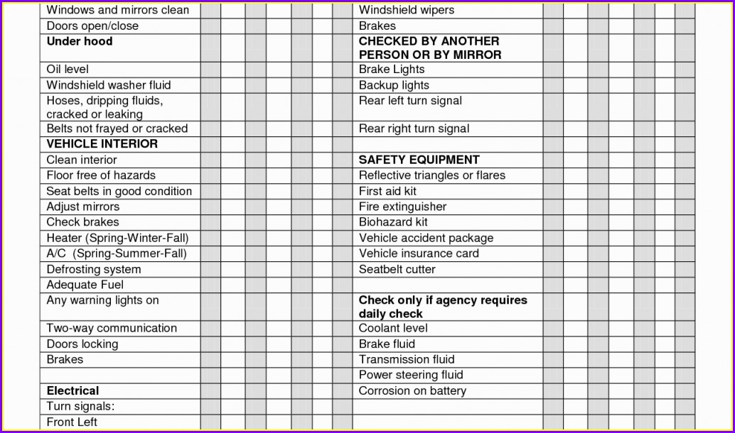 Printable Weekly Vehicle Inspection Checklist Template