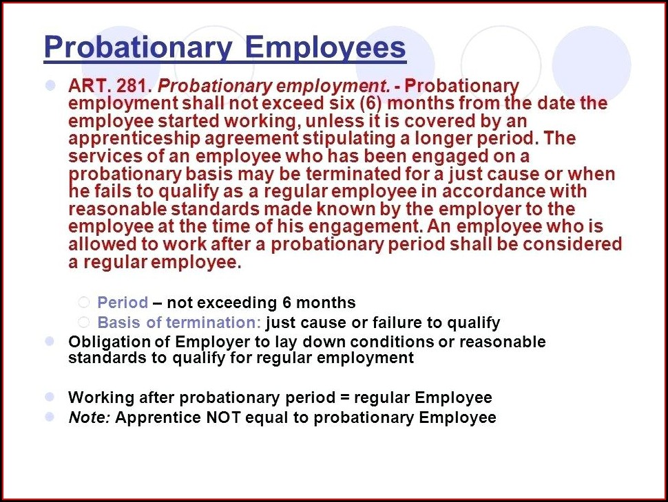 Probationary Employment Contract Template Philippines
