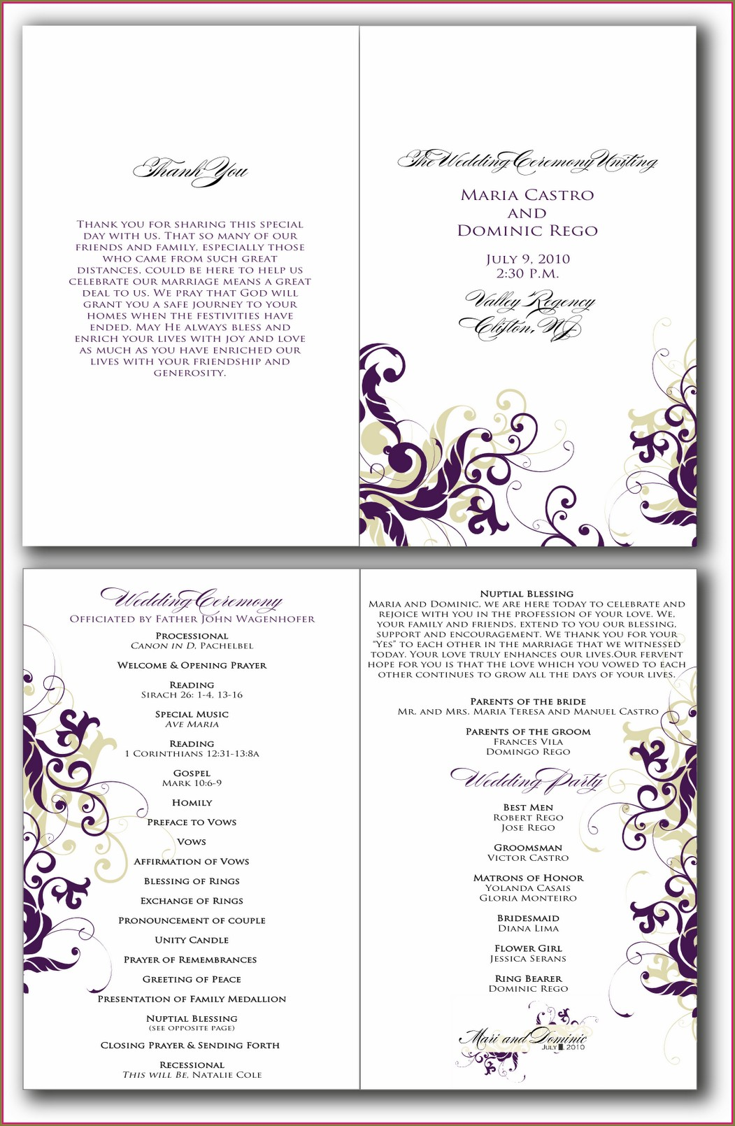 Programme Quinceanera Program Templates Free