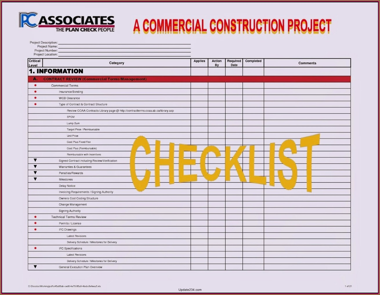Project Management Checklist Template Excel
