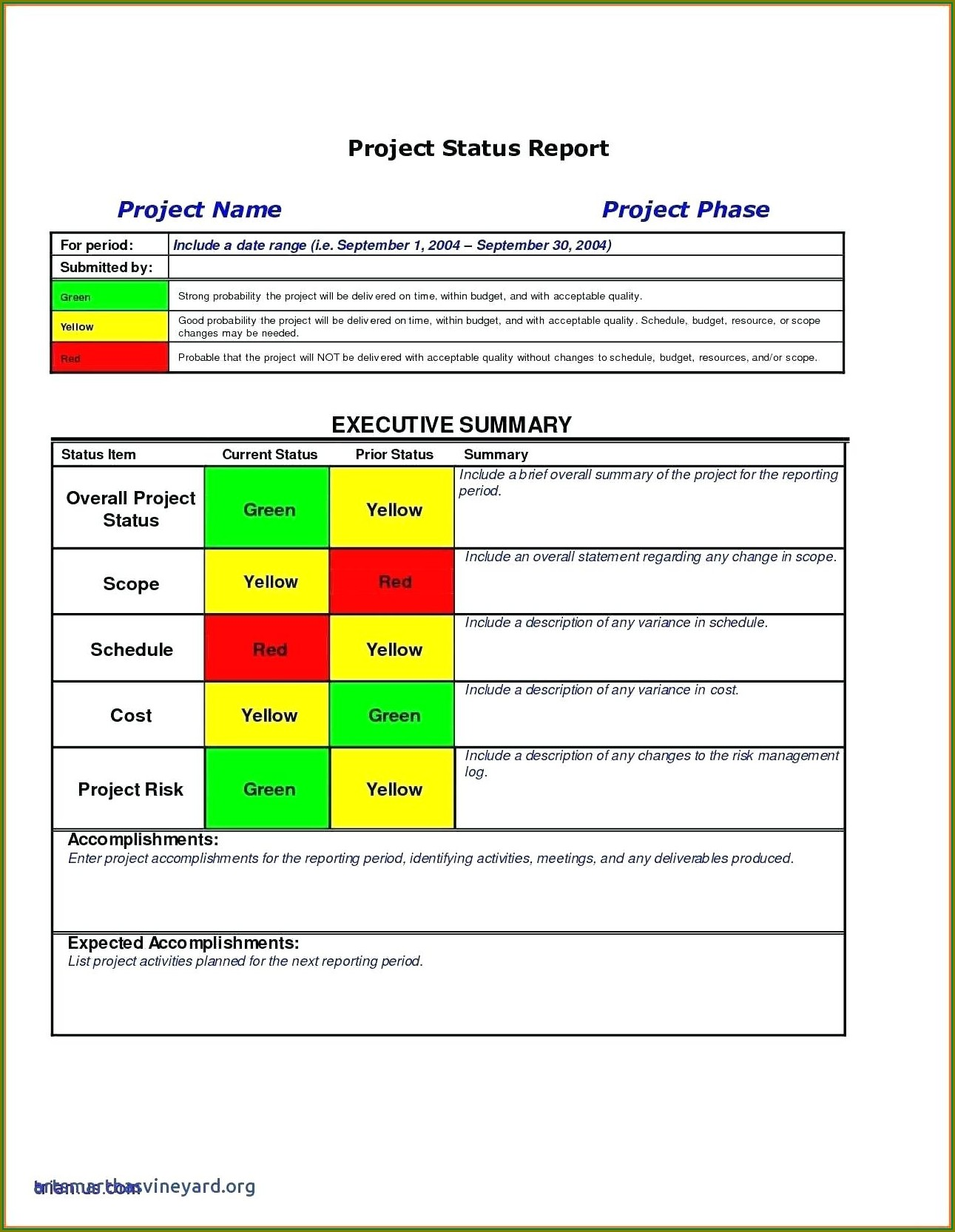 Project Management Excel Progress Report Template