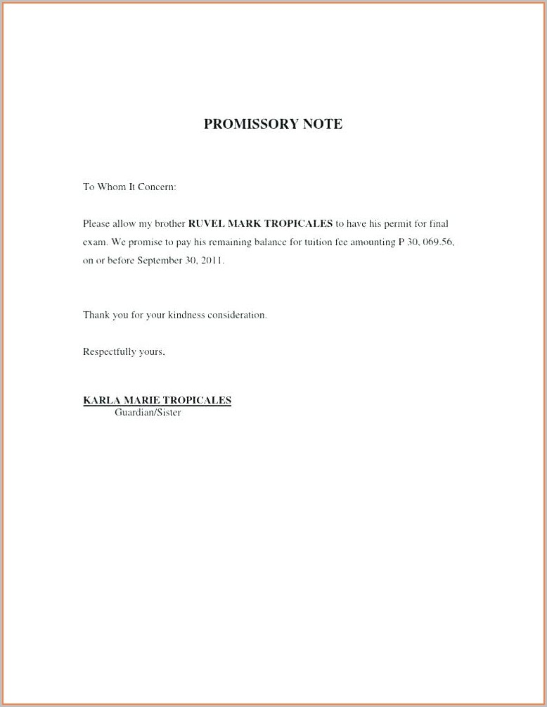 Promissory Note Iou Letter Template