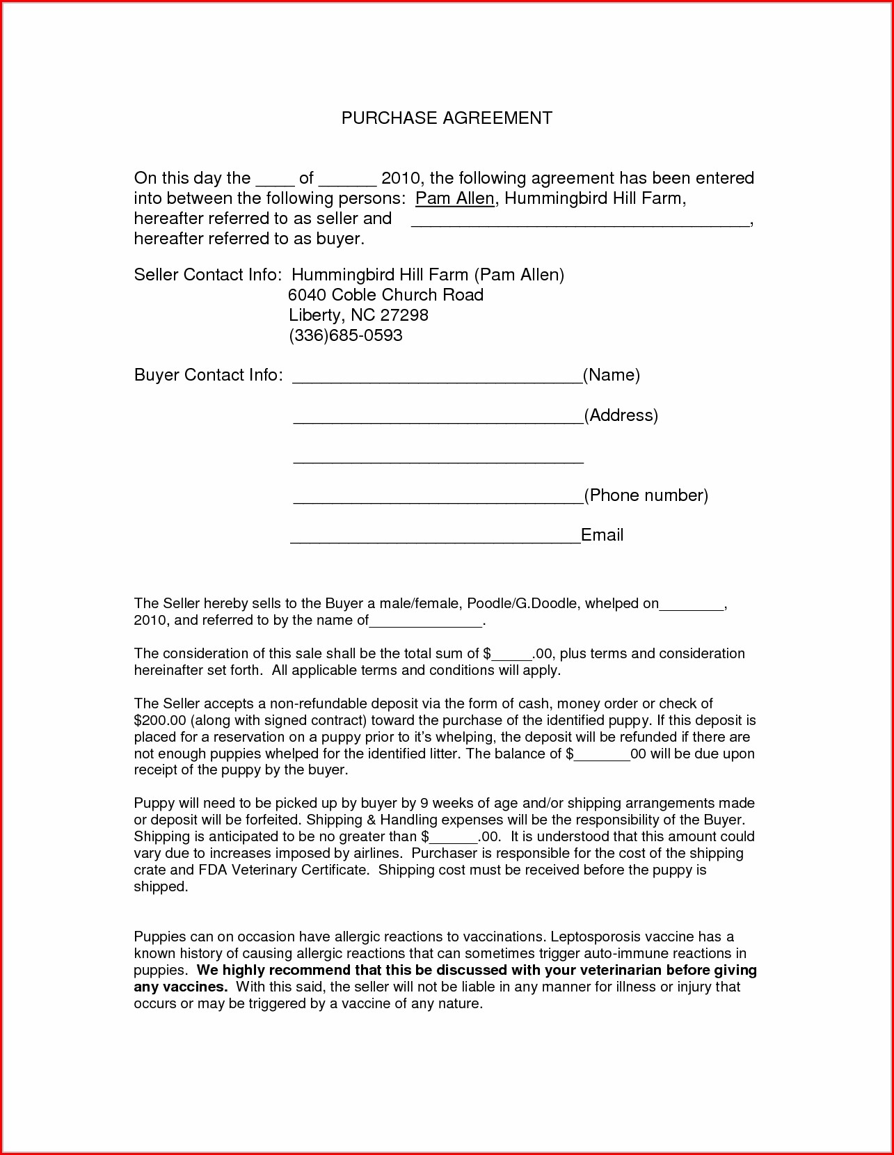 Property Purchase Simple Purchase Agreement Template Word