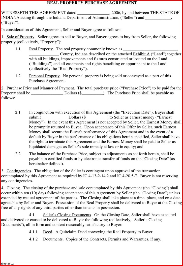 Property Purchase Simple Purchase Agreement Template