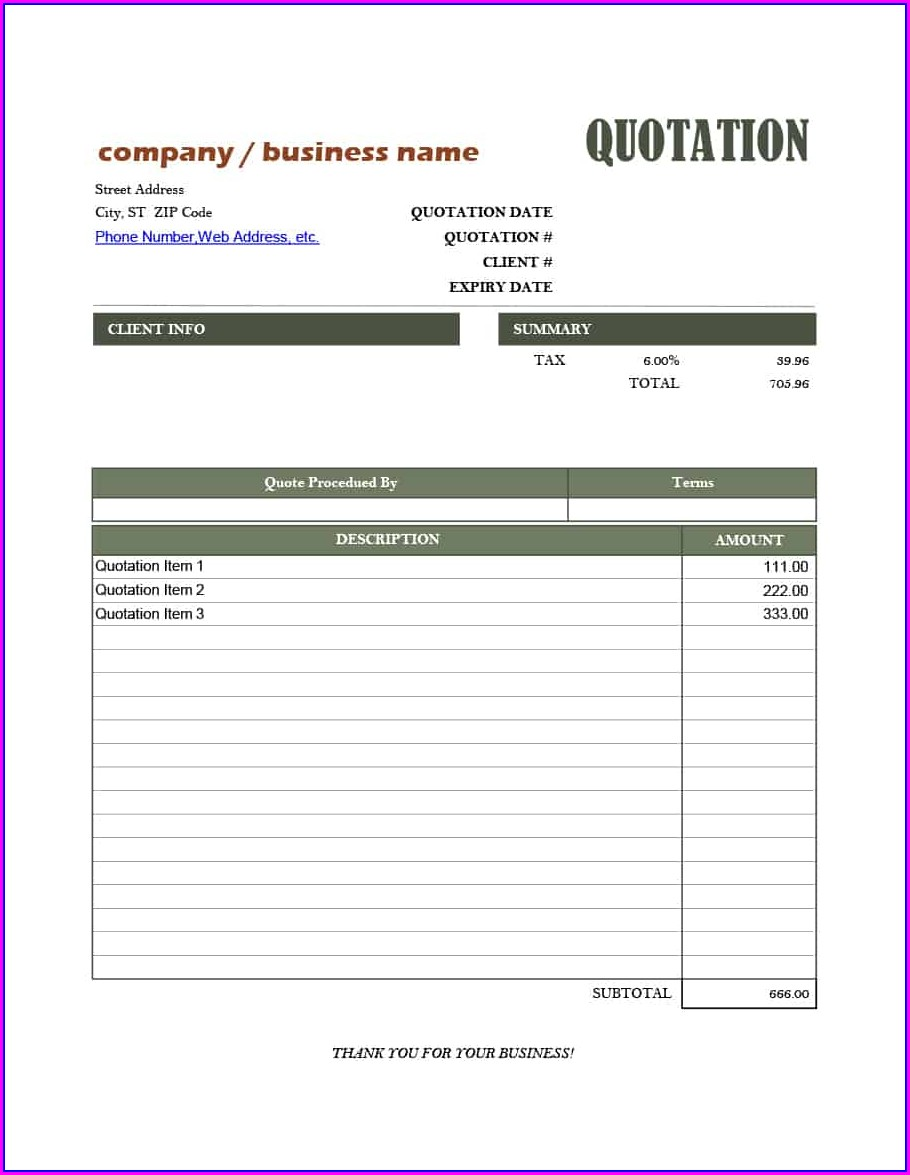 Proposal Excel Quotation Template Spreadsheets For Small Business