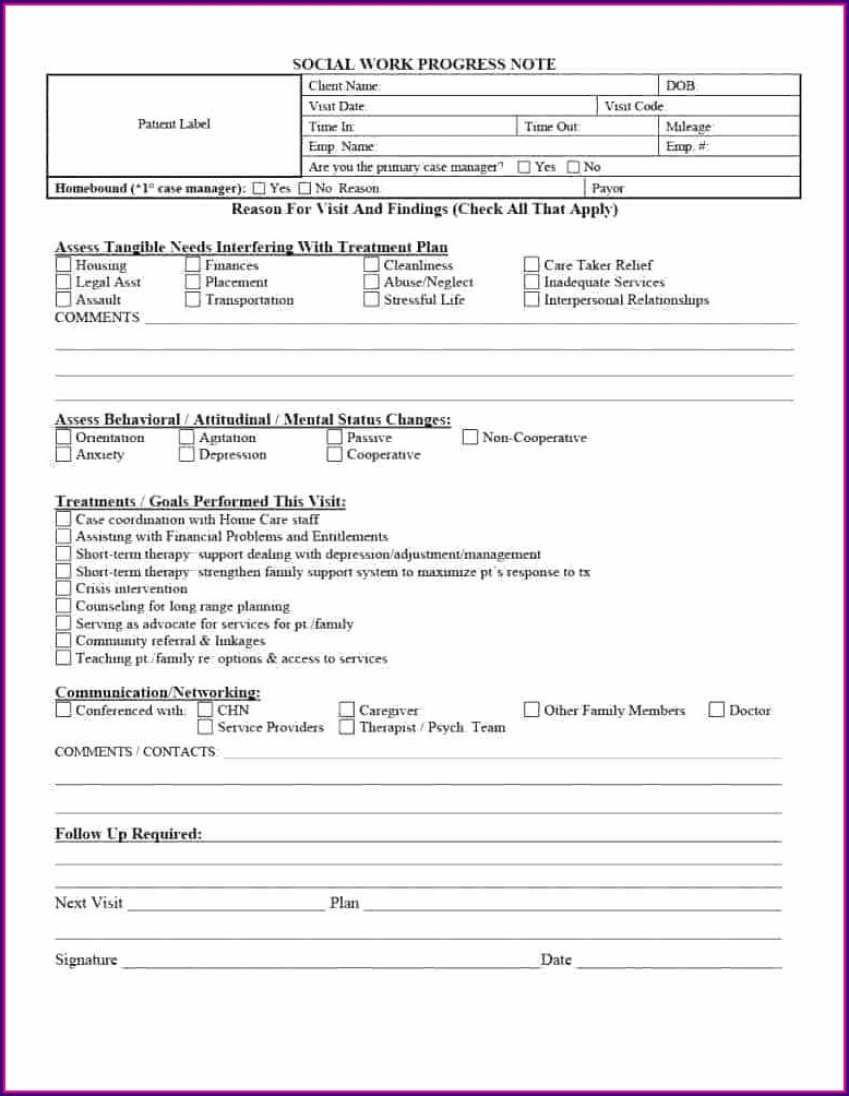 Psychiatric Nursing Progress Note Template