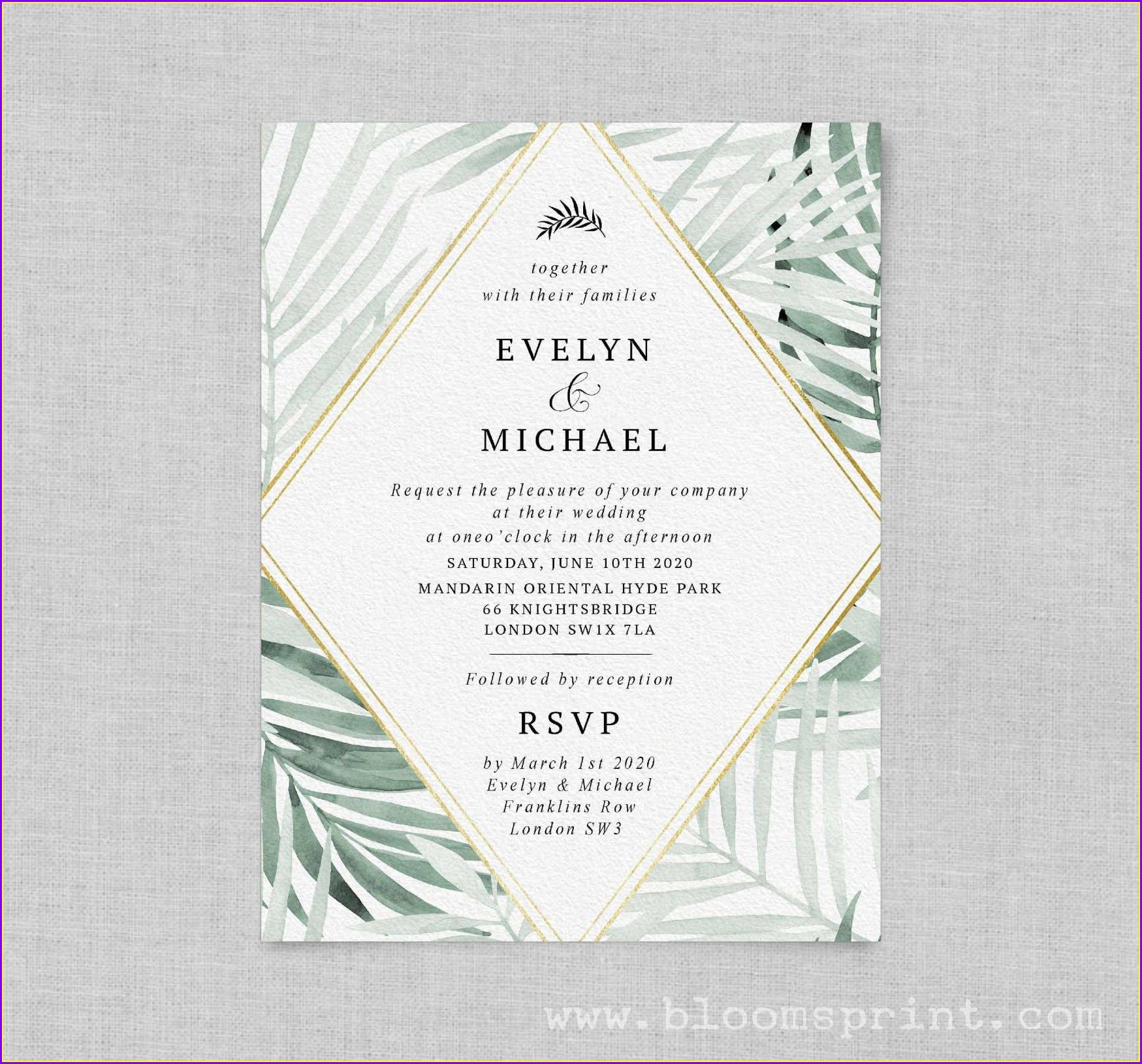 Purple And Green Wedding Invitation Templates
