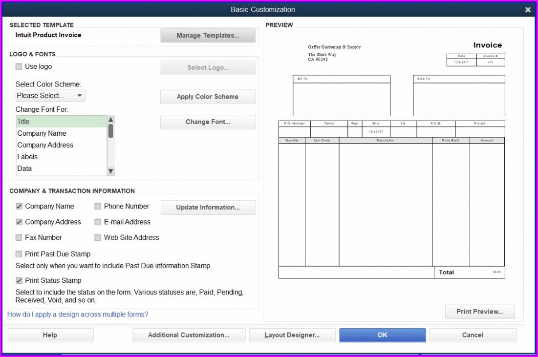 Quickbooks Online Multiple Invoice Templates