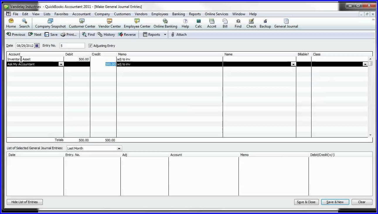 Quickbooks Payroll Journal Template