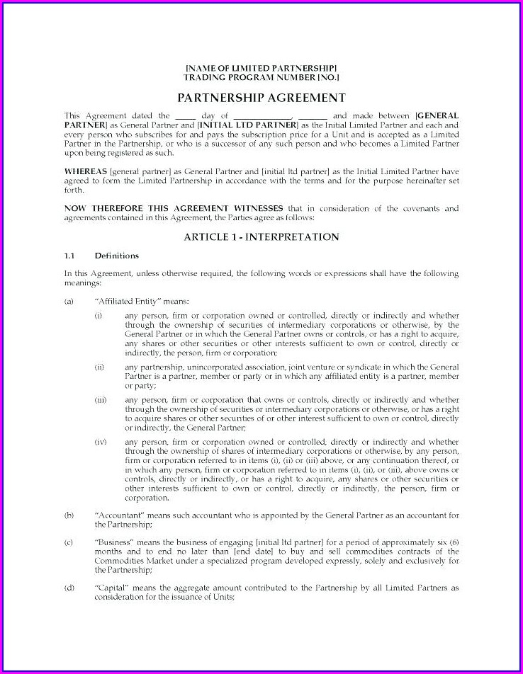 Real Estate Partnership Agreement Template