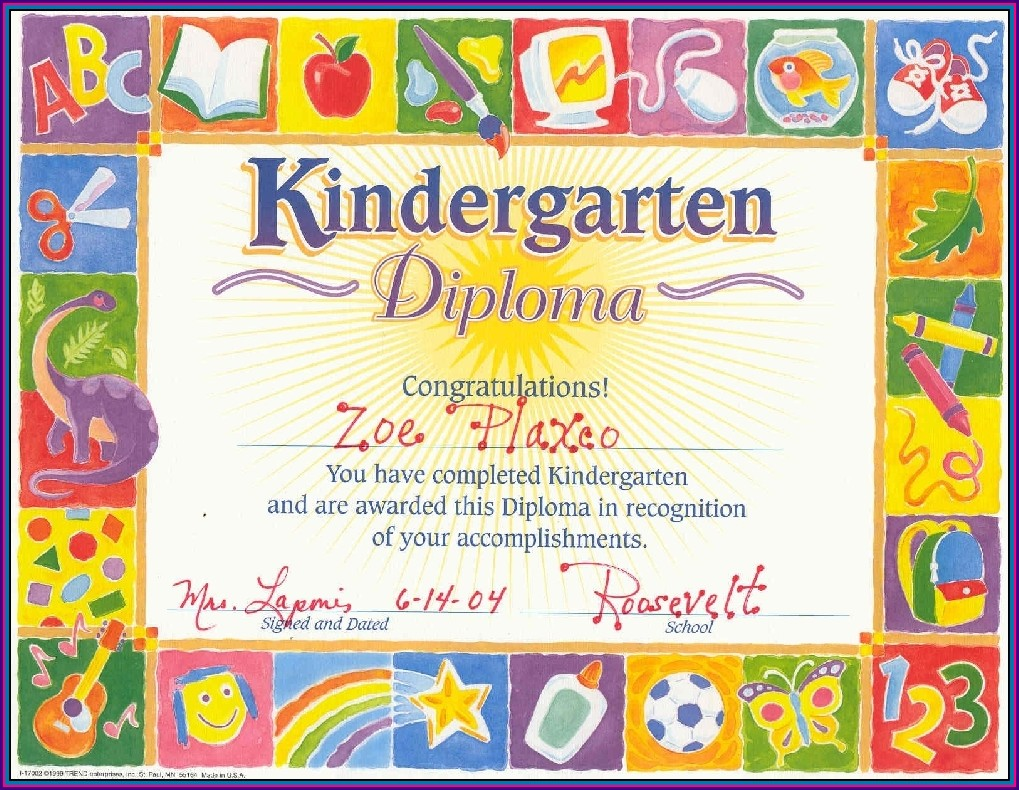 Recognition Kindergarten Certificate Template