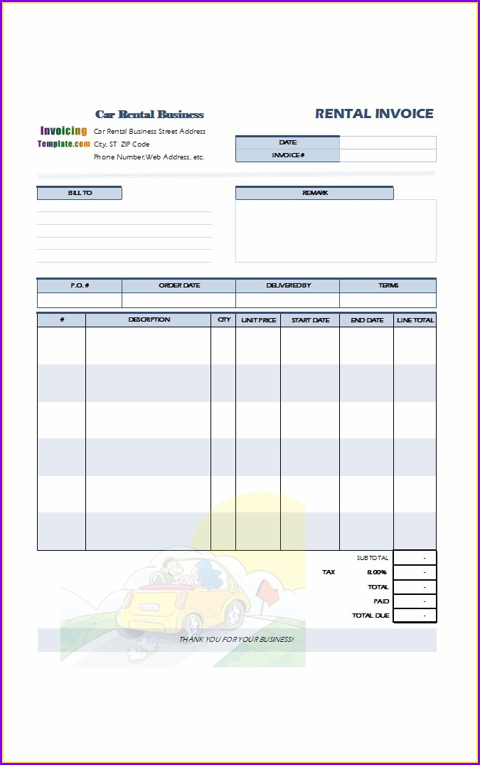 Rental Car Invoice Template