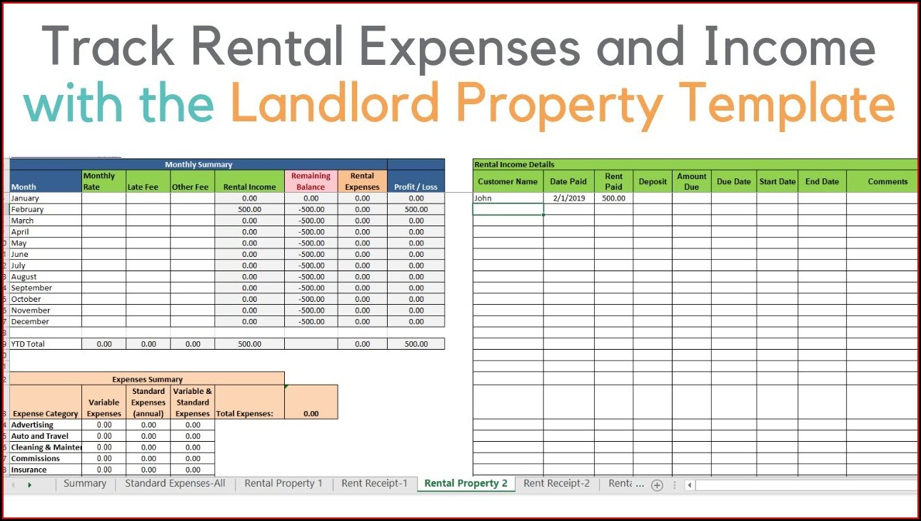 Rental Property Excel Template