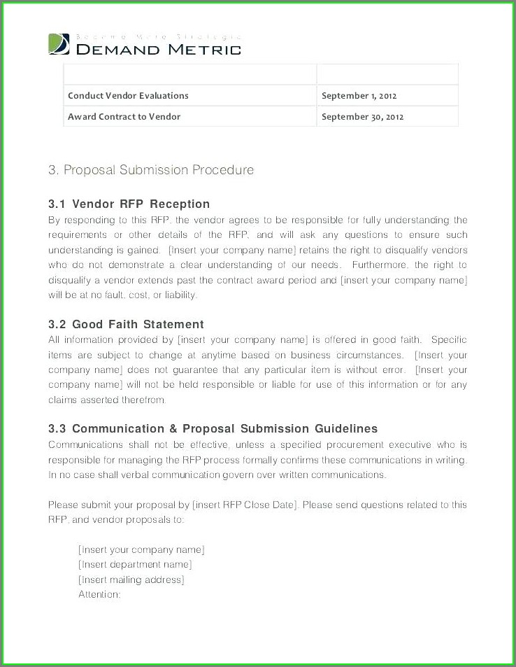 Request For Proposal Event Rfp Template