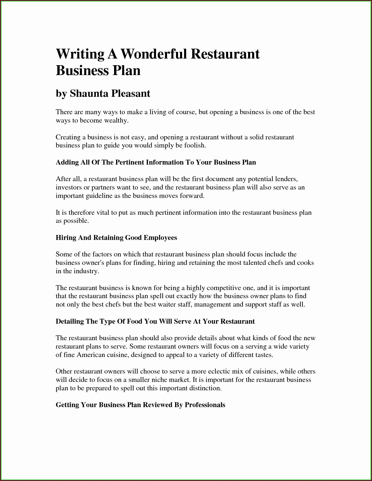 Restaurant Business Proposal Template Word