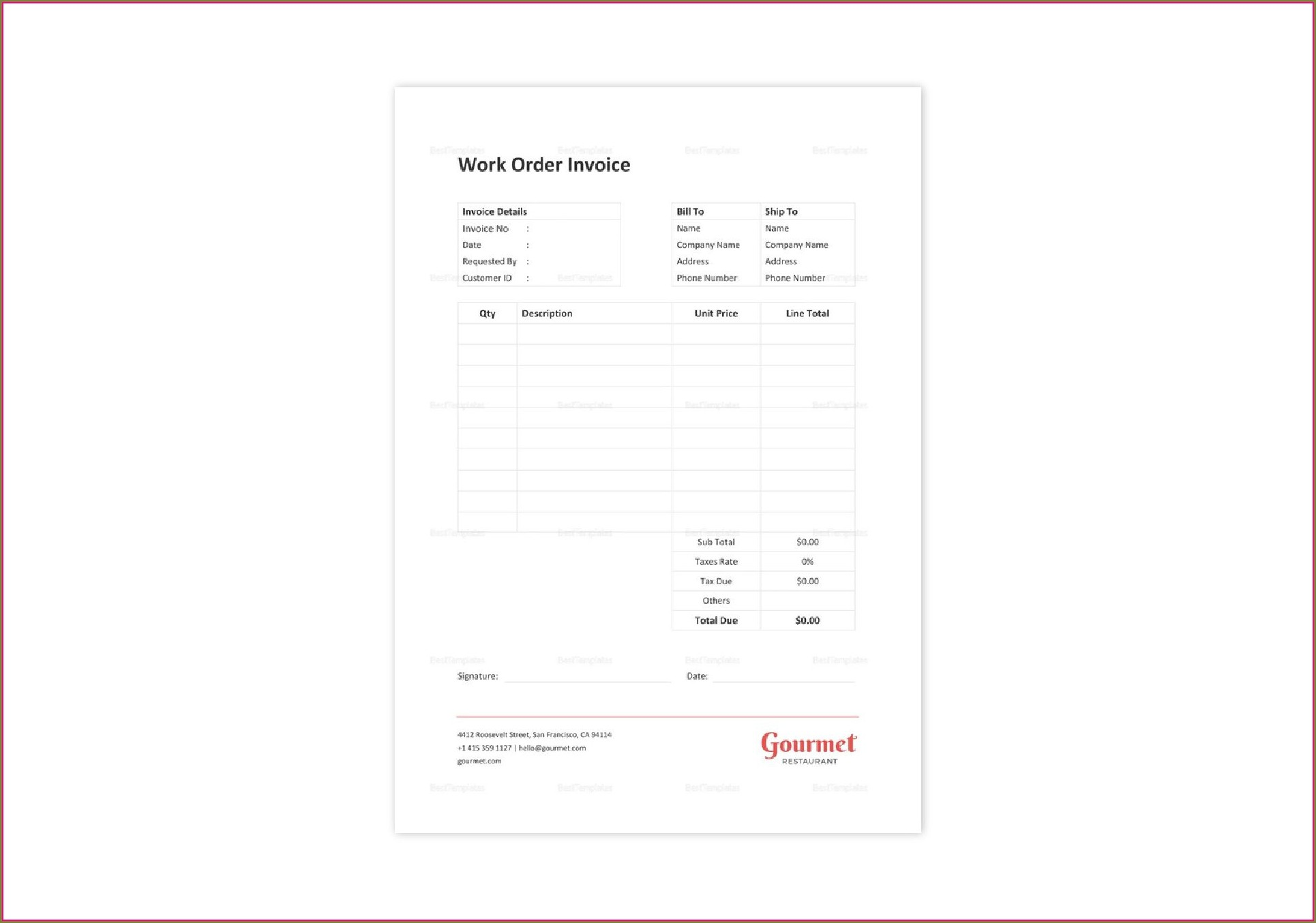 Restaurant Invoice Template Word