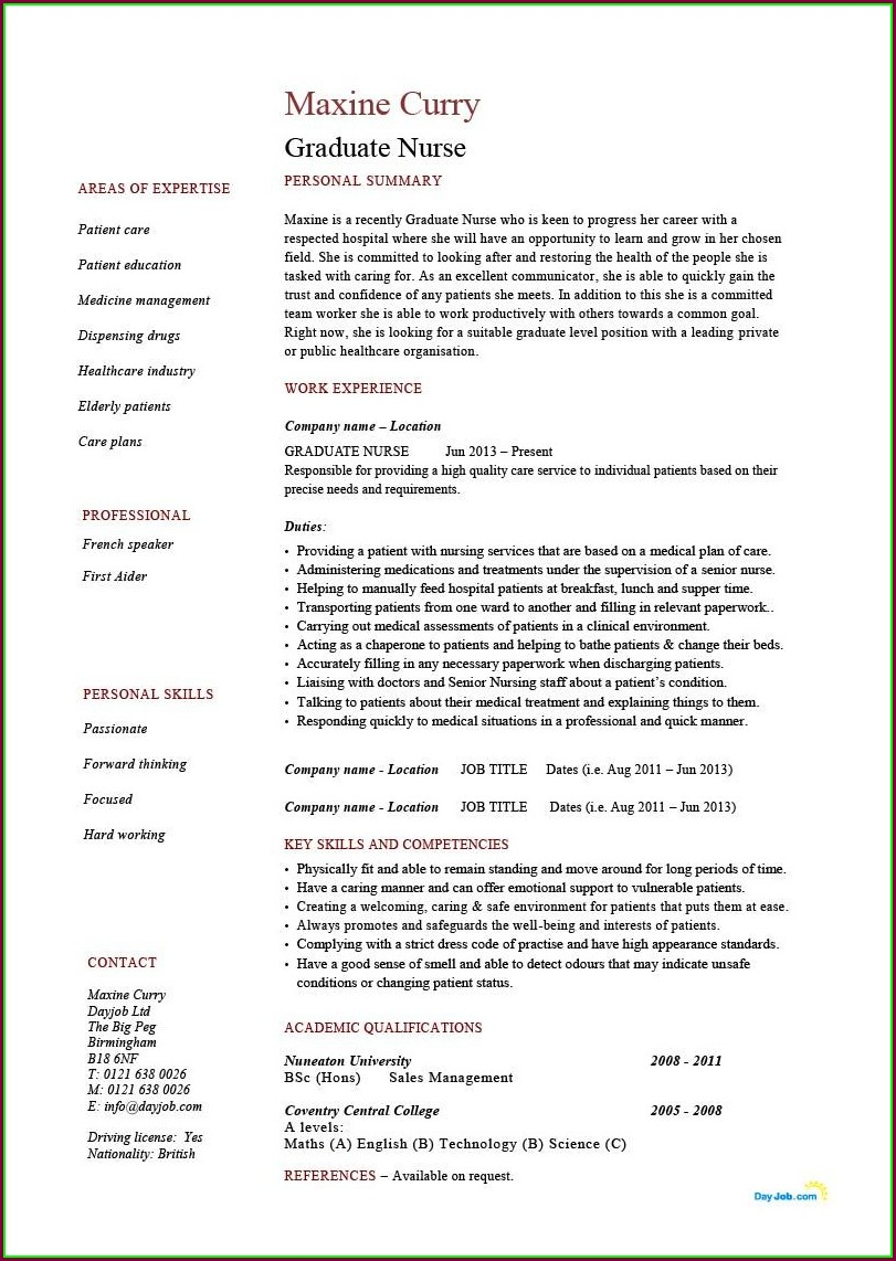 Resume Samples Template Cv Free