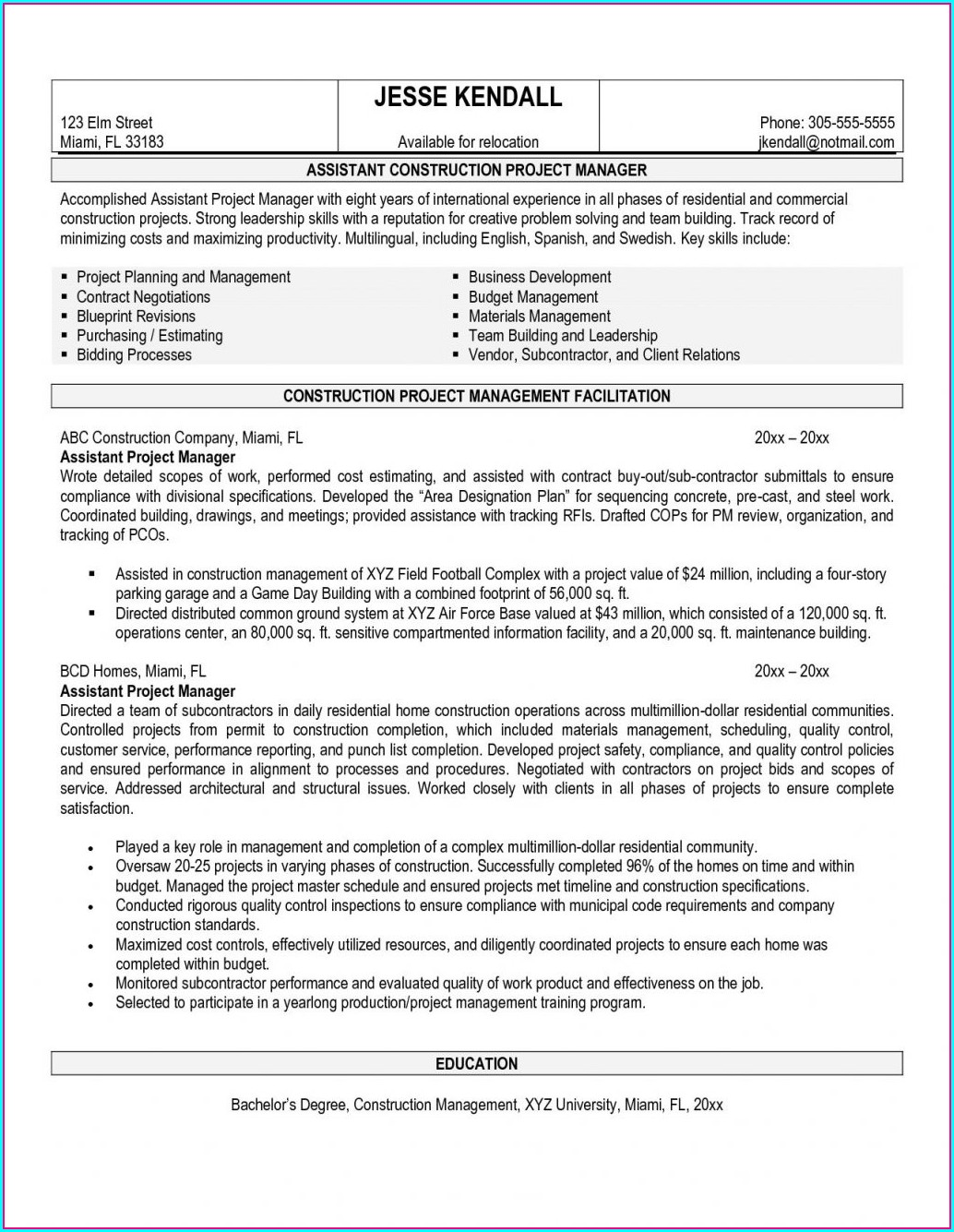 Resume Templates Construction Management