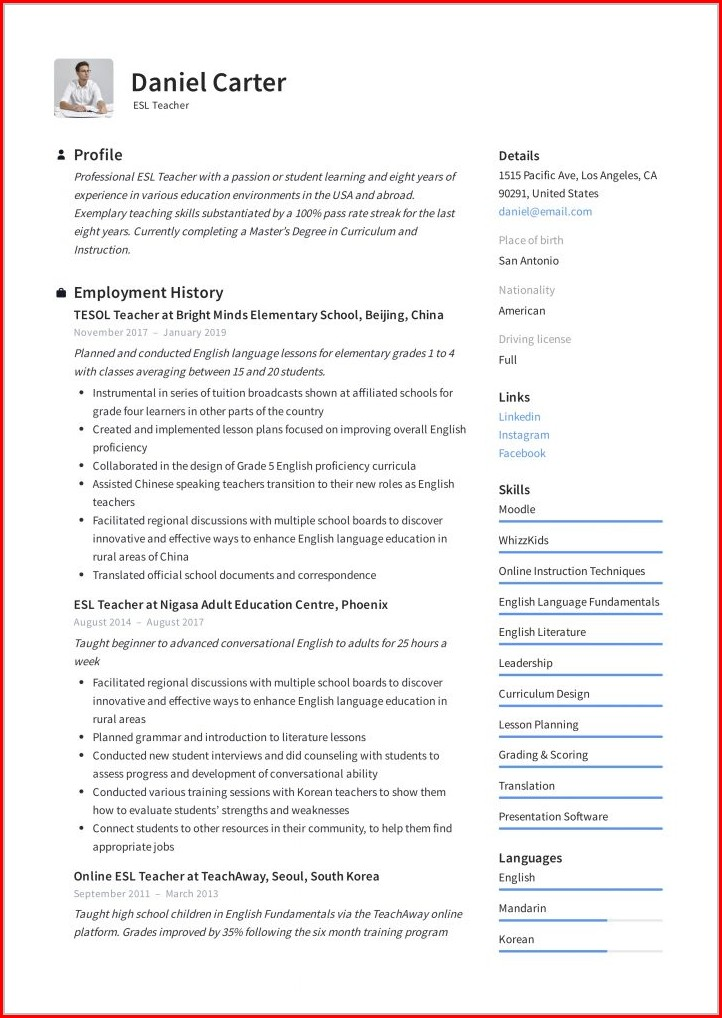Resume Templates For Teaching Jobs In India