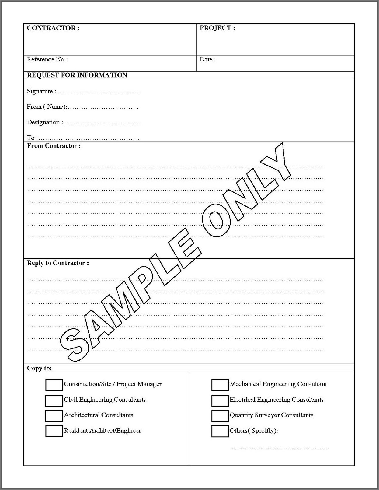 Rfi Form Template