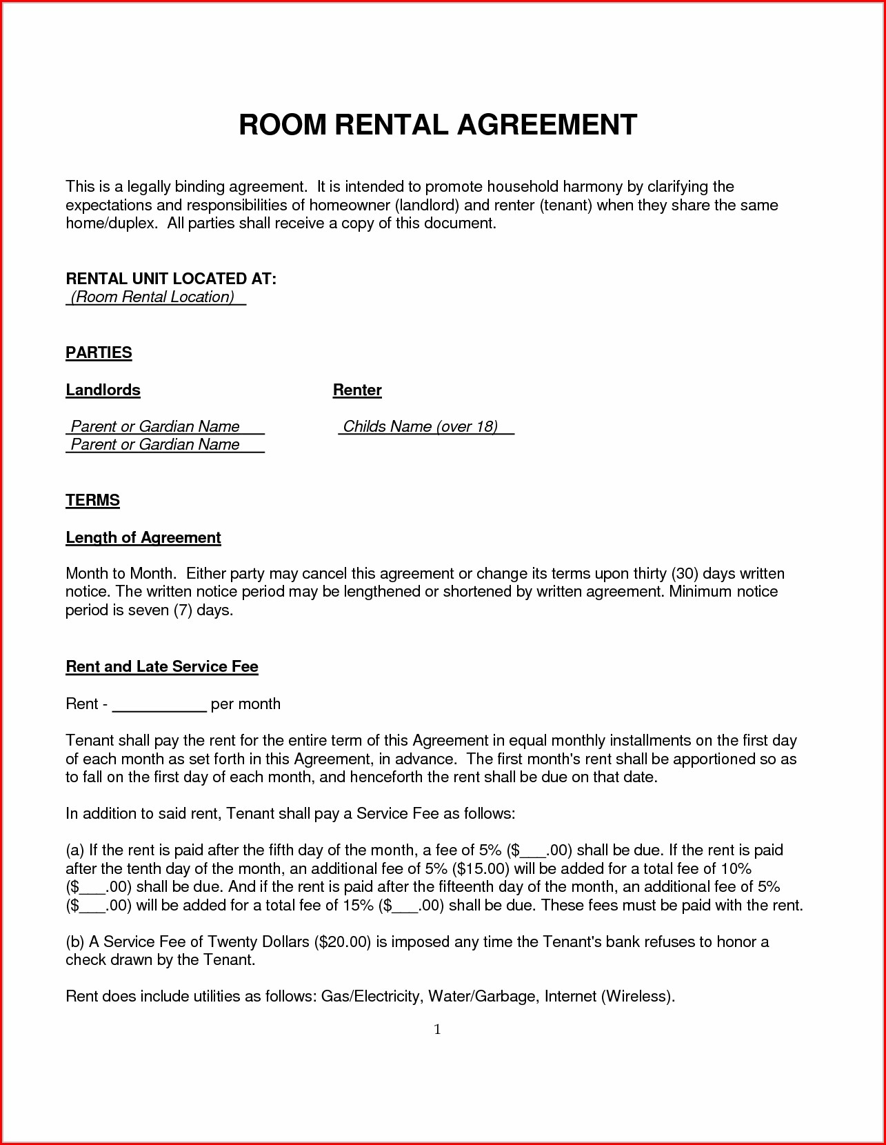 Room Agreement Template Uk