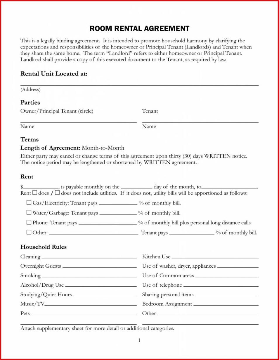Room Agreement Template