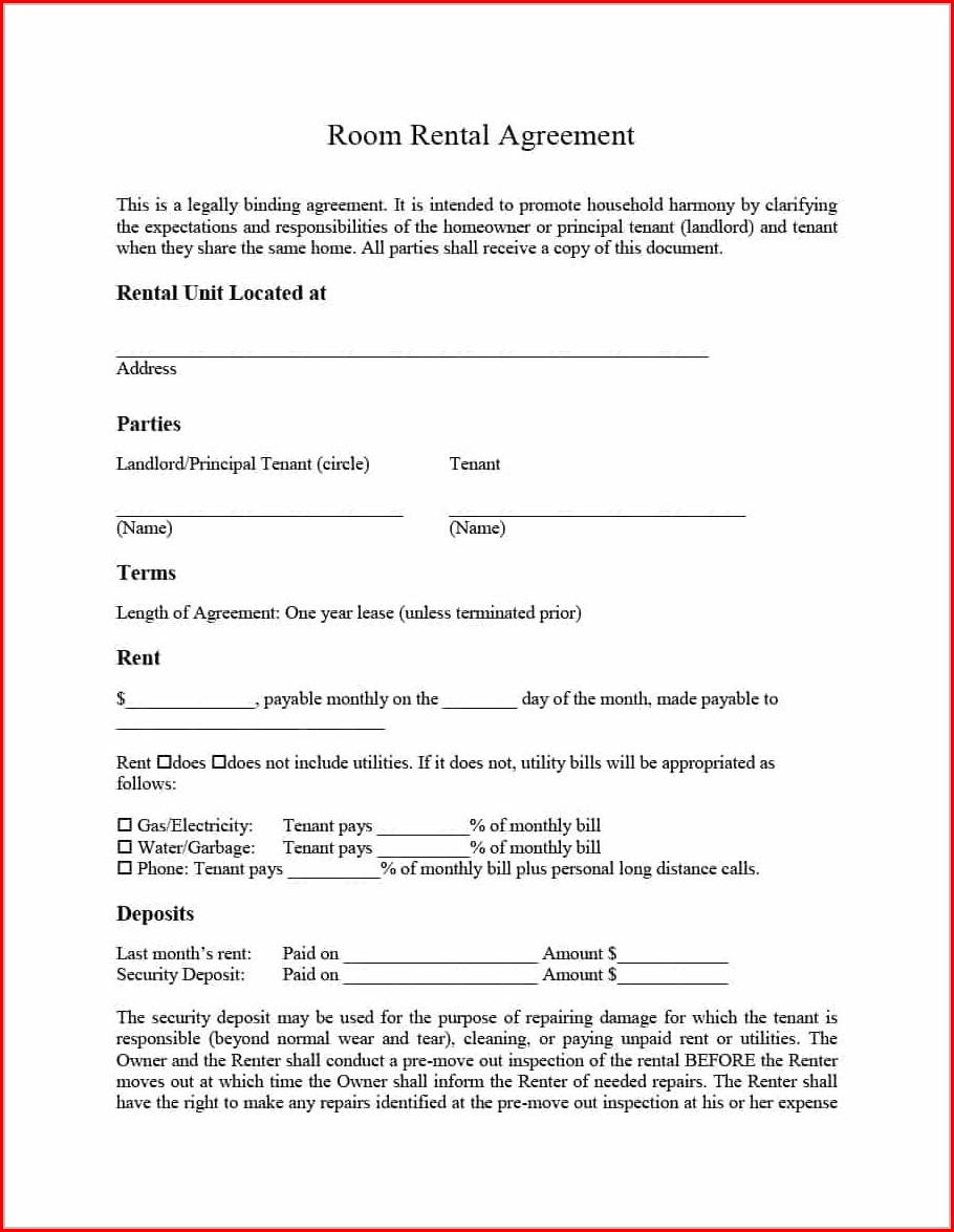 Room Lease Agreement Template