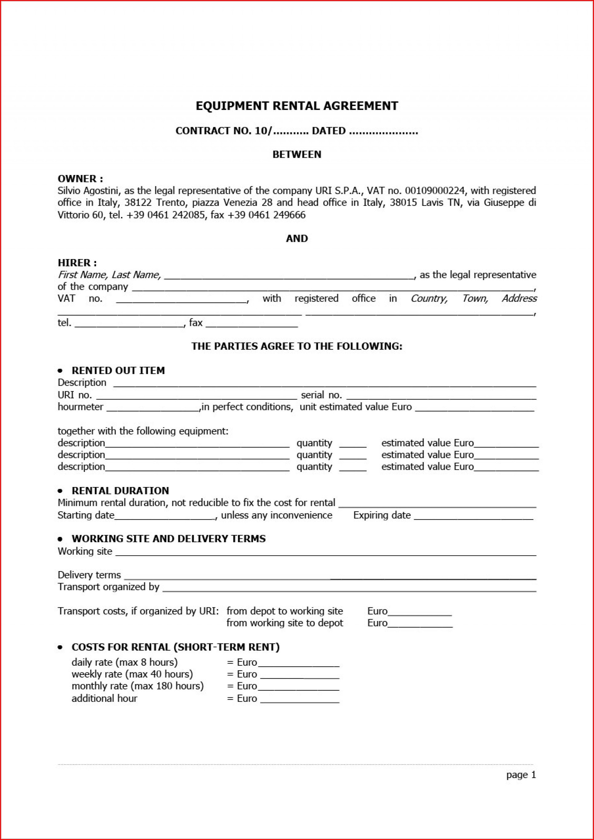 Room Rental Agreement Template Word Doc Uk